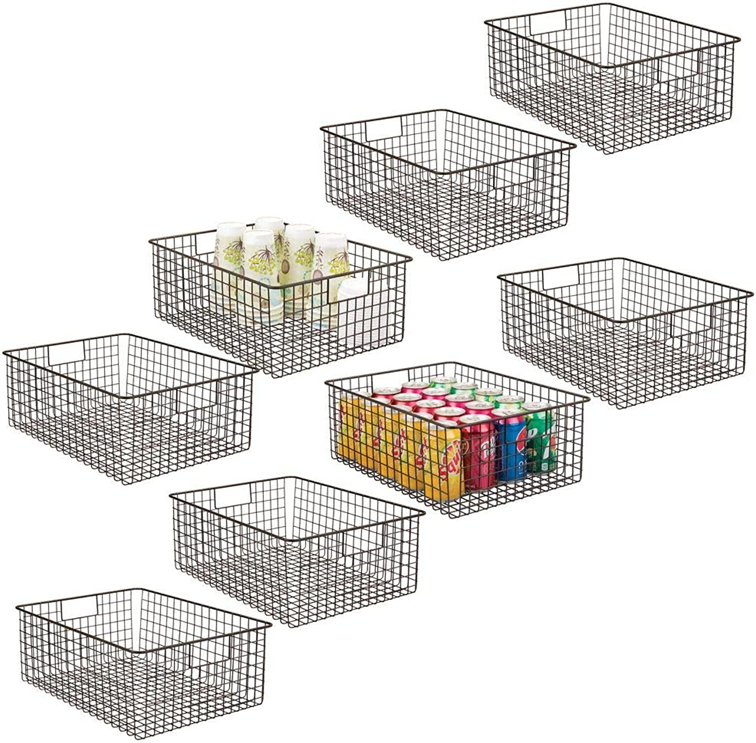 MDesign Farmhouse Decor Metal Wire Food Organizer Storage Bin Baskets with Handles for Kitchen Cabinets, Pantry, Bathroom, Laundry Room, Closets, Garage - 8 Pack - Bronze