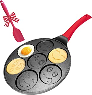 Pancake Griddle Pan Emoji Pancake Pan Nonstick Smile Face Pancake Mold for Kids - 6 inch Handle