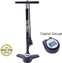 Vilobyc High Pressure Digital Gauge Alloy Aluminum 260 Psi Bicycle Bike Floor Air Pump Gauge Reversible Presta & Schrader Valve