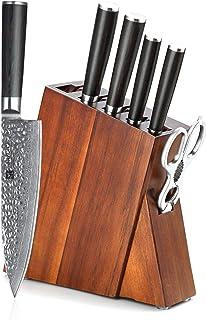 XINZUO Acero Damasco de 7 Piezas Set Cuchillo Cocina con Bloque de Madera de Acacia, Tijeras de Cocina Multifuncionales,Cuchillo Chef Afilado Profesional, Cuchillo de Vegetales Forjados -He Serie