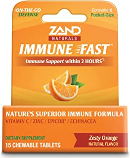 Zand Immune Fast Zesty Orange Chews | Boosts Immune Response & Cell Activity w/EpiCor* & Echinacea, 15 Tablets, 5 Serv.