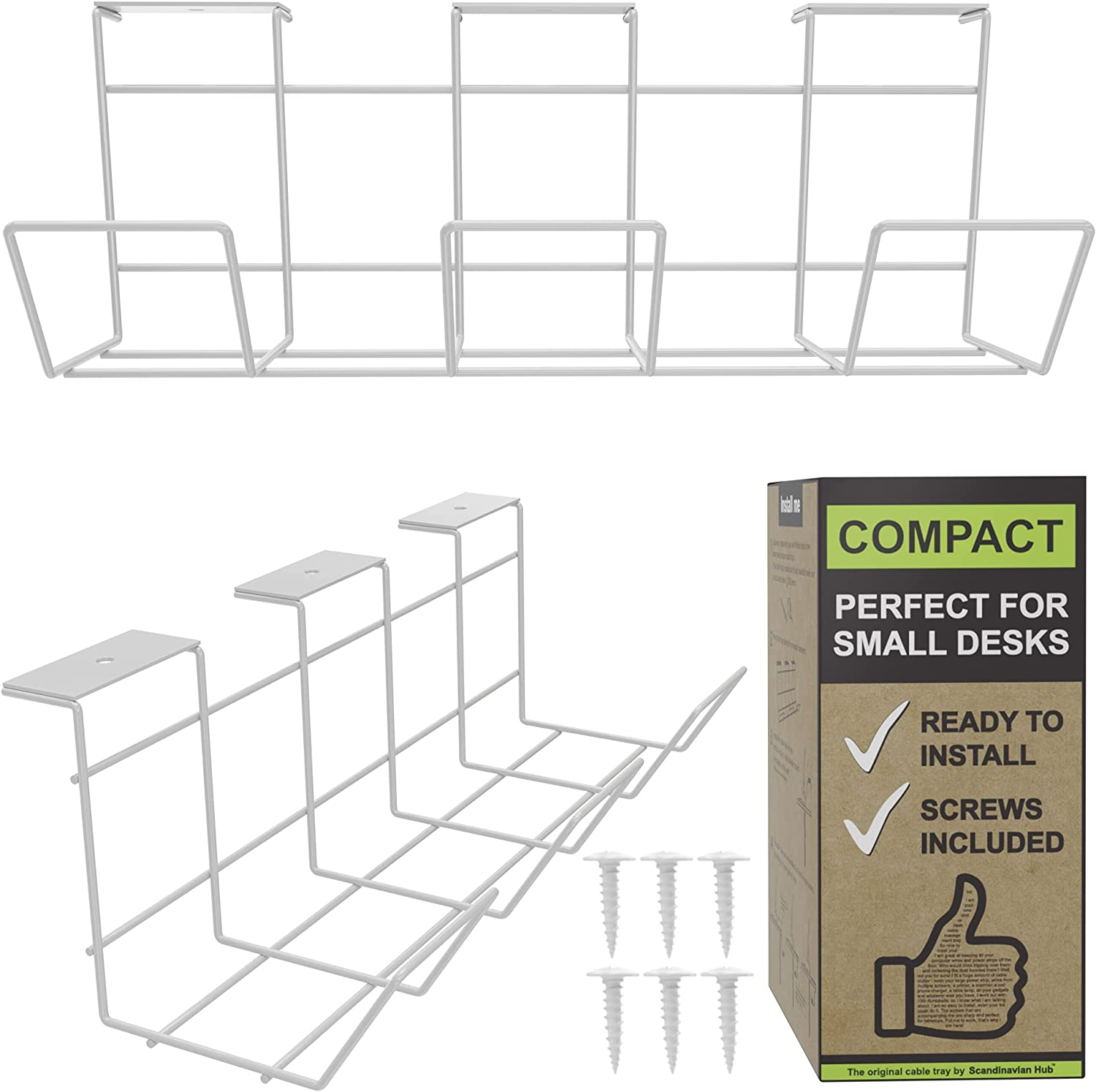 Scandinavian Hub Great interest Compact Under Desk - Trays Wh Discount is also underway Cable Management