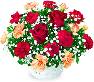 【誕生日フラワーギフト・バラ】赤バラのアレンジメント ya0b-512048 花キューピット 花 ギフト お祝い 記念日 プレゼント 生花 祝花 妻 夫 父親 母親 彼女 彼氏 友達