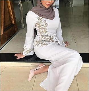 DSJTCH エレガントなイスラム教徒の刺繍アバヤ正装Vestidosカーディガン着物ルーズロングドレスローブJubah中東イードラマダンイスラム (Color :