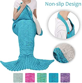 Tirrinia Sherpa Mermaid Tail Blanket for Adults Teens Girls Womens, Super Comfy Warm Anti-Slip Knitted Mermaid Blanket Wave Pattern | Gift Package Included, Blue