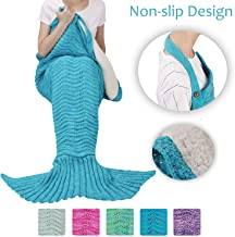 Tirrinia Sherpa Mermaid Tail Blanket for Adults Teens Girls Womens, Super Comfy Warm Anti-Slip Knitted Mermaid Blanket Wave Pattern   Gift Package Included, Blue