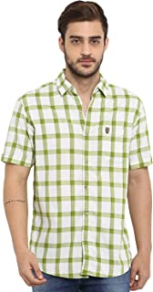 Mufti Men's Checkered Slim Fit Casual Shirt (MFS-9581-H-OF_Off White Green_XL)