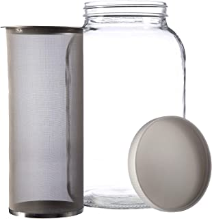 1 Gallon Cold Brew Coffee Maker - Gallon Mason Jar with Stainless Steel Mesh Filter Insert and Lid for Large Batch Cold Brew Coffee and Tea Batches - by kitchentoolz