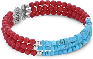 American West Sterling Silver Multi Gemstone Choice of 5 Color Combinations 3-Strand Wire Wrap Cuff Bracelet Size S, M or L