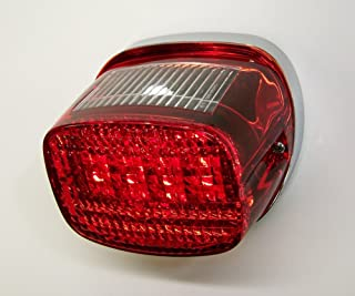Bright Ass Lights Taillight with Multiple Strobe Patterns for Harley Davidson Models - Squareback Style with Red Lens and License Plate Window