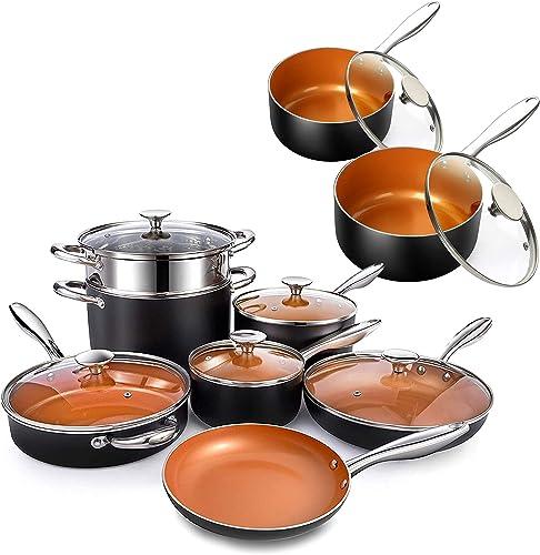 2021 MICHELANGELO 12 Piece Copper Pots and Pans Set + 1Qt & 2Qt Copper Sauce Pan Set with Lid, Nonstick Copper Cookware Set with Ceramic Titanium Coating, Ceramic Cookware online Set, OVEN lowest Safe sale