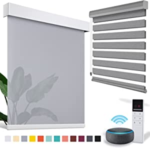 ACMEART Motorized Blinds with Remote for Window,Zebra Blinds & Shades for Living Room/Bedroom/Home, Smart Blinds & Roller Window Shades for Home& Window Blinds,Roller Mini Blinds Blackout