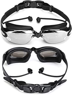 Shortsighted Swimming Goggle Myopic UV Protection w/Anti Fog Nose Clip Ear Plugs for Women Kids Men