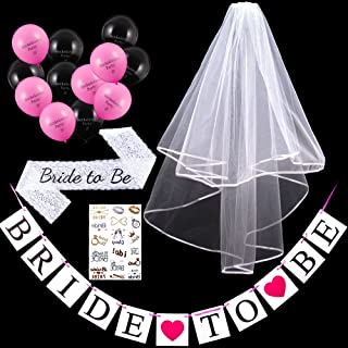Bride to Be Veil Decoration Set for Bridal Shower Bachelorette Party, Includes 2 Tiers 2T Ivory White Ribbon Edge Comb Wedding Veils, Lace Sash, Body Tattoo Sticker and Balloons Banners
