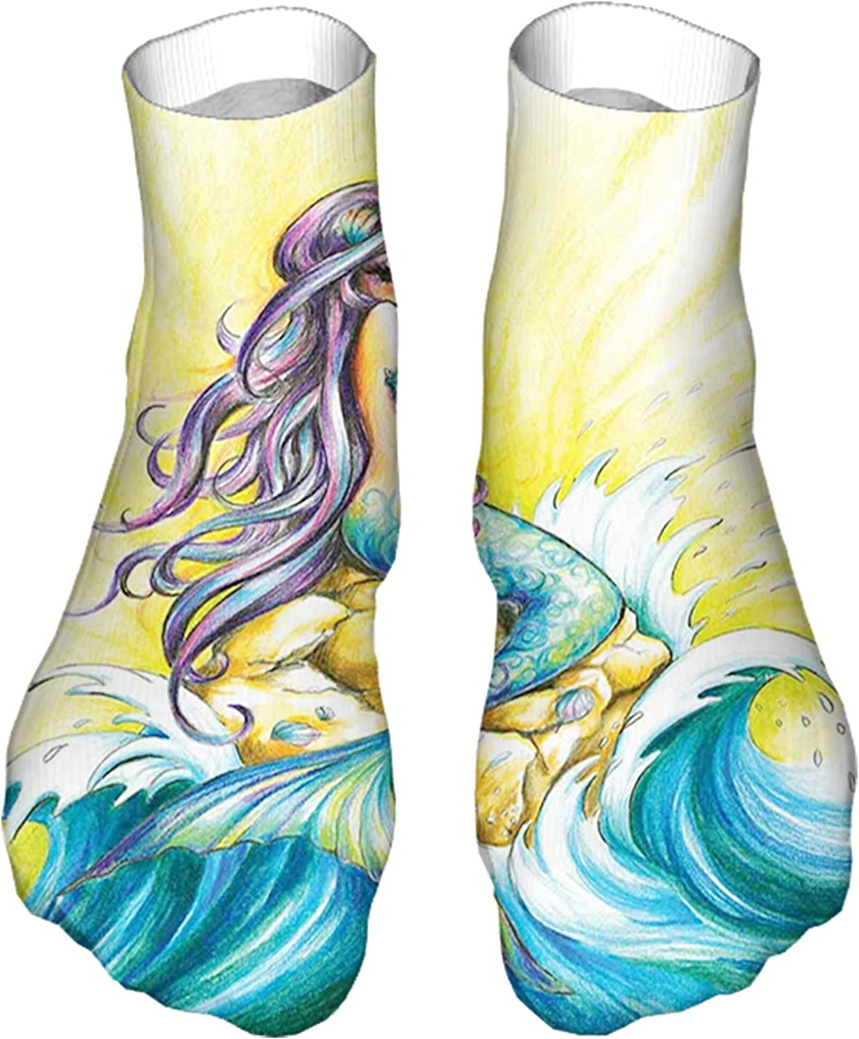 Women's Colorful Patterned Unisex Low Cut/No Show Socks,Magical Mermaid Sitting on Rock Sunny Day Colored Pencil