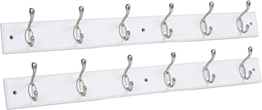 BirdRock Home Hook Coat and Hat Rack - 2 Pack - 6 Hooks - 27 Inches - Wall Mount - Decorative Home Storage - Entryway Foye...