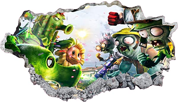 West Mountain Plants Vs Zombies Wall Decal Art Decor 3D Smashed Kids Game Sticker Mural Nursery Boys Gift BL14 22 W X 14 H