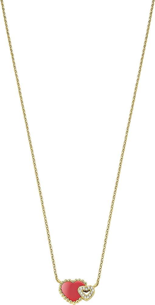 Morellato,collana per donna,in pvd oro giallo,con pendente a forma di cuori con critalli bianchi SAGF03