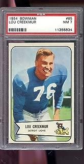 1954 Bowman #85 Lou Creekmur Detroit Lions NM PSA 7 Graded Football Card NFL
