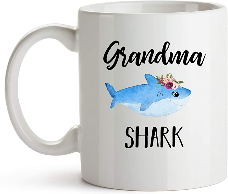 YouNique Designs Grandma Shark Shark Mug 11 Ounce Grandma Shark Coffee Cup