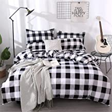 Farmhouse Buffalo Checked Bedding Set Black Gray White Plaid Comforter Cover King,Soft Lightweight Grid Bedspreads, 1 Latt...