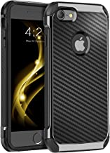 BENTOBEN iPhone 8 Case, iPhone 7 Case, Drop Protection Anti-Scratch Dual Layer Hybrid Hard PC Carbon Fiber Texture Shockproof TPU Bumper Protective Case for iPhone 7 / iPhone 8 (4.7 Inch), Black