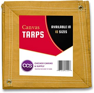 CCS CHICAGO CANVAS & SUPPLY Canvas Tarpaulin, Gold, 8 by 12 feet (Available in 8 More Sizes)
