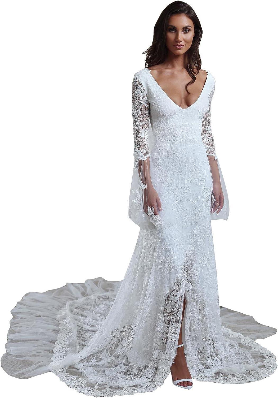 Yeoyaw Women's 2018 Bohemian Beach Lace Flower Wedding Dresses VNeck Long Sleeves Bridal Gowns