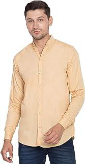 American-Elm Men's Beige Chinese Collar Solid Cotton Shirt