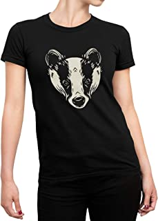 Womens Badger Forest Animals Short Sleeve Black Modern Tapered Fit Ladies T-Shirt