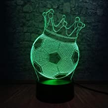 Creative Imperial Soccer Crown 3D Throne USB LED Lamp First Prize Sports Boy Soccer Player Colorful Light Bulb