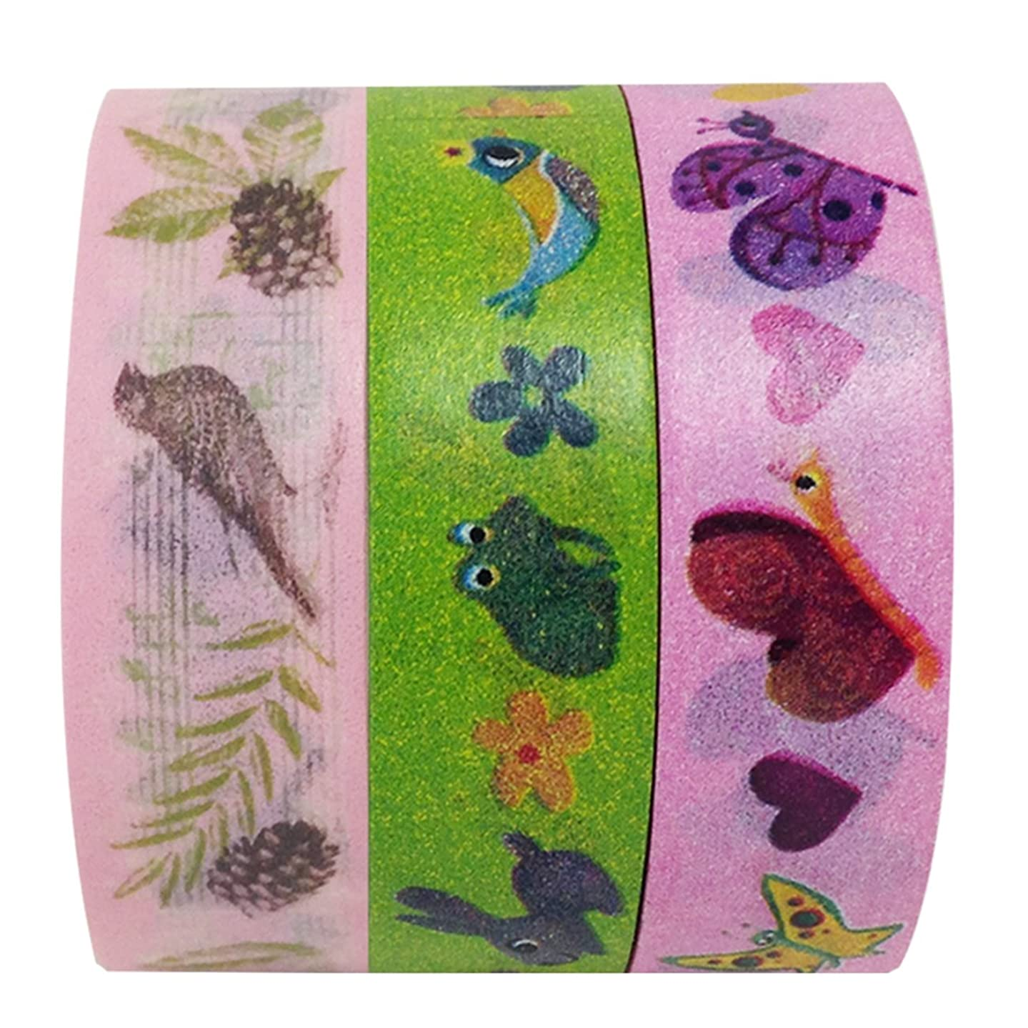 Wrapables Nature Buddies Washi Masking Tape, 10M by 15mm, Set of 3