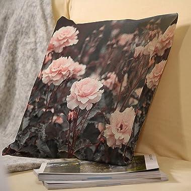 VEIMER Pink RoseFancyCountry FlowerAnd BirdLinen Throw Pillowcase Sofa Pillow, Cushion Cover Both Sides Print 18x18 inches