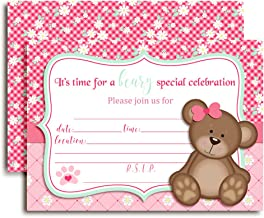 Teddy Bear Girl Birthday Party Invitations for Girls, 20 5