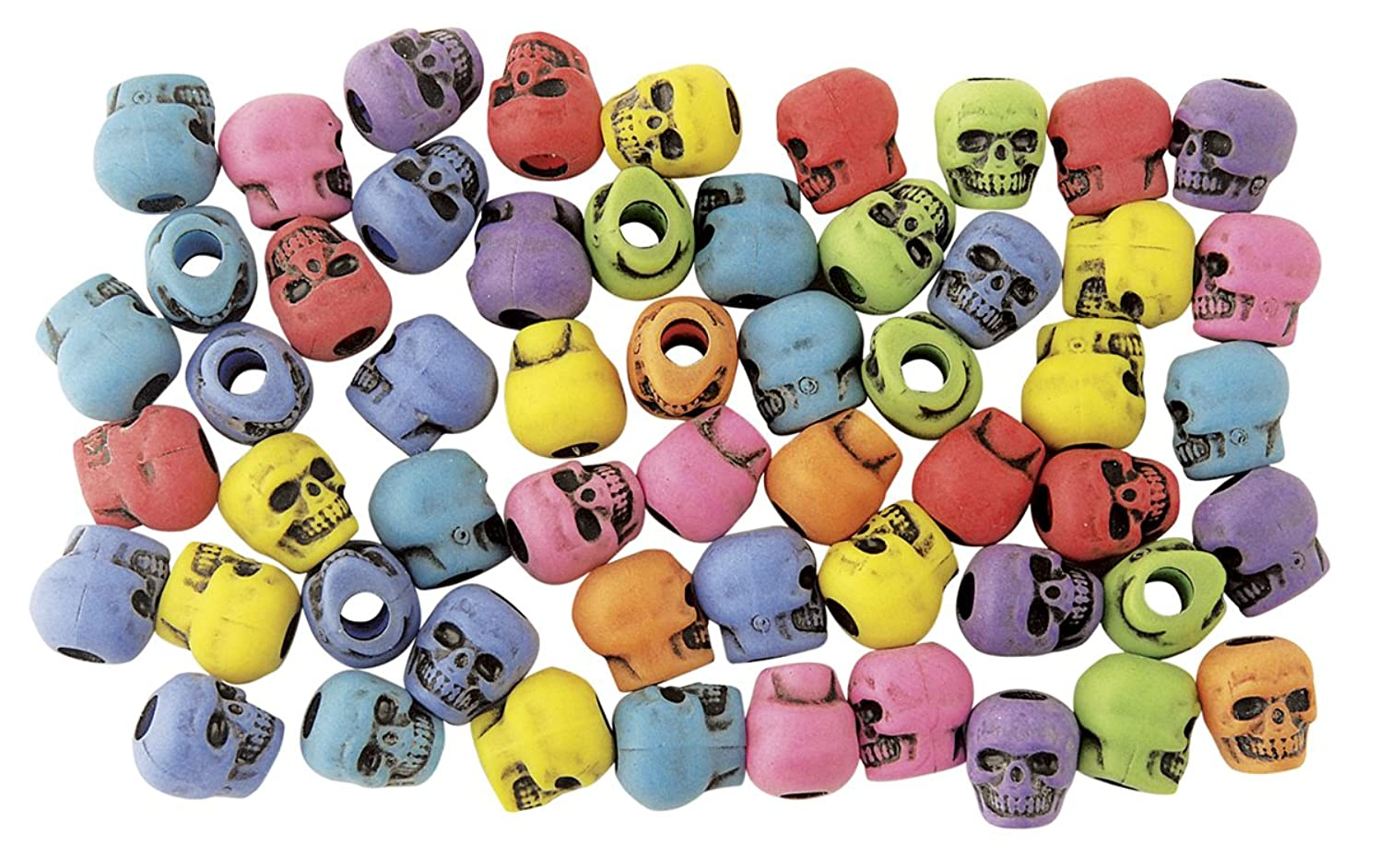 The Beadery 4-Ounce Bag of Skull Beads, Circus Multi with Black Antiquing