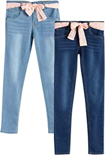 Sponsored Ad - dELiAs Girl's Jeans - Super Stretchy Skinny-Fit Jeans with Sash Belt (2 Pack)