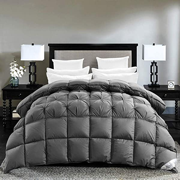 ROSECOSE Luxurious Goose Down Comforter King Size Duvet Insert Pinch Pleat Splicing 1200 Thread Count 750 Fill Power 100 Cotton Shell Down Proof With Tabs King Gray Pinch Pleat Splicing