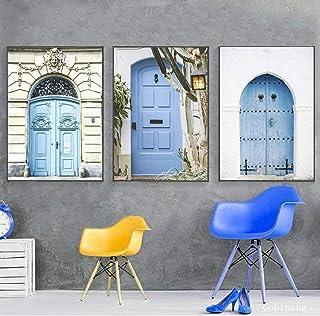 Pintura en lienzo Puerta azul Casa antigua europea Arte de la pared Carteles e impresiones Paisaje Imágenes de la pared Sa...