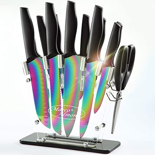 DISHWASHER SAFE Rainbow Titanium Knife Set with Block,14 PCS Kitchen Knife Set with Acrylic Stand,Kitchen Scissor,San...