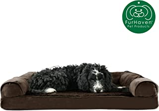 Furhaven Pet Dog Bed | Therapeutic Plush & Suede Sofa-Style Living Room Couch Pet Bed..