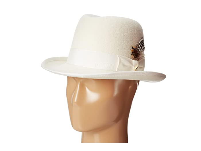Stacy Adams  Homburg Wool Felt Hat with Grosgrain Band (Ivory) Caps