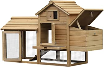 """PawHut 59"""" Small Solid Wood Enclosed Outdoor Backyard Chicken Coop Kit with Nesting Box"""