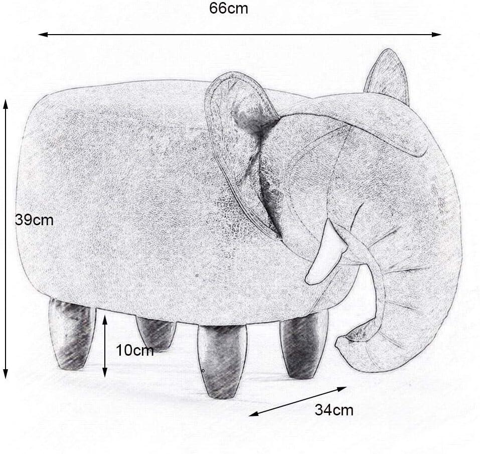 YUMUO Animal Forme Chambre Simple Canapé Repose-Pieds en Bois Massif Éléphant Tabouret pour Adulte et Enfants F0106 (Couleur: Rouge) 3