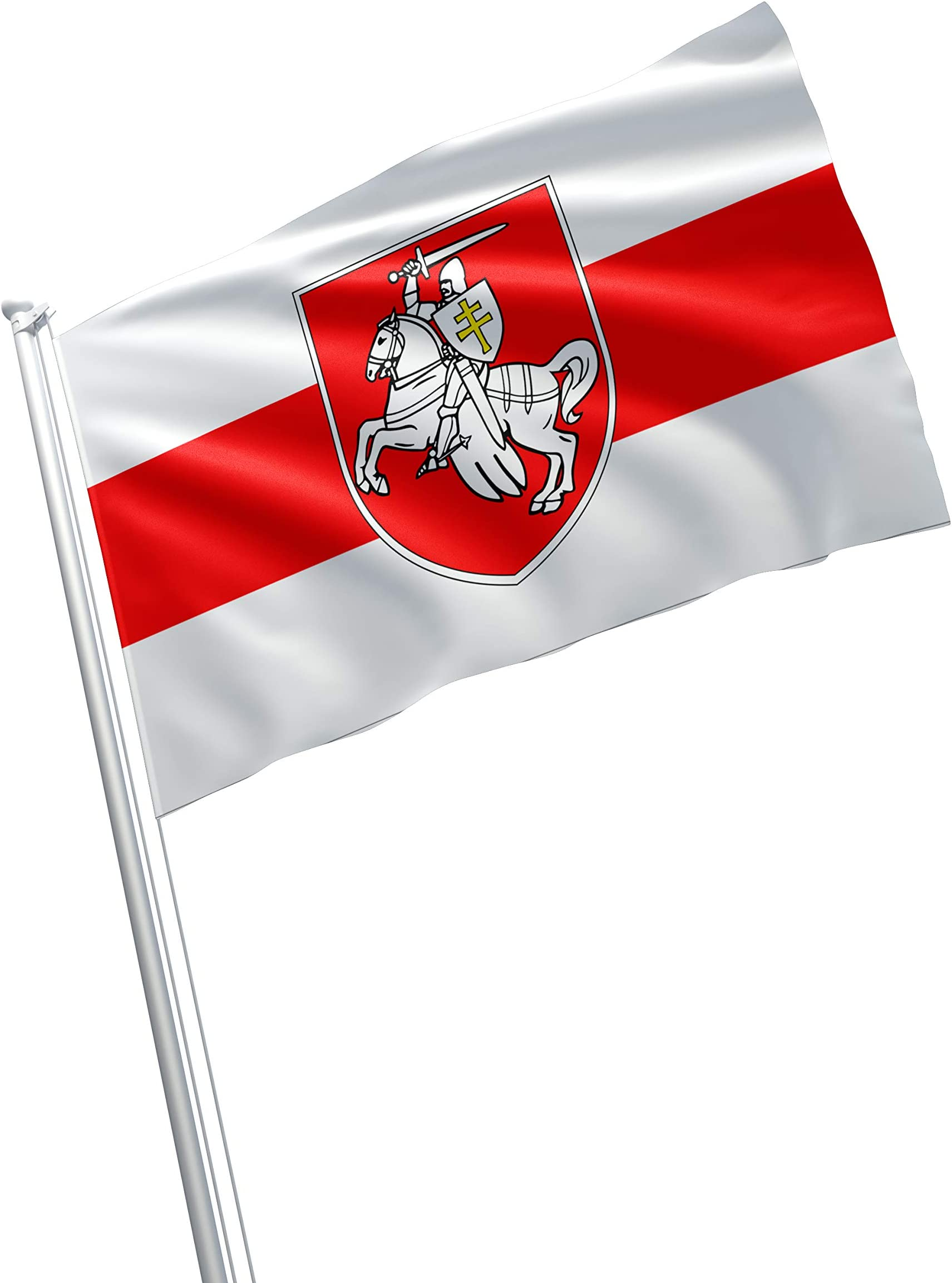 Belarus Minsk Knight Coat Of Arms Pogonia Pogonya Pahonya погоня пагоня Bnr Bnf Opposition Historical 3x5 Feet Flag Banner Vivid Color Double Stitched Brass Grommets Garden Outdoor