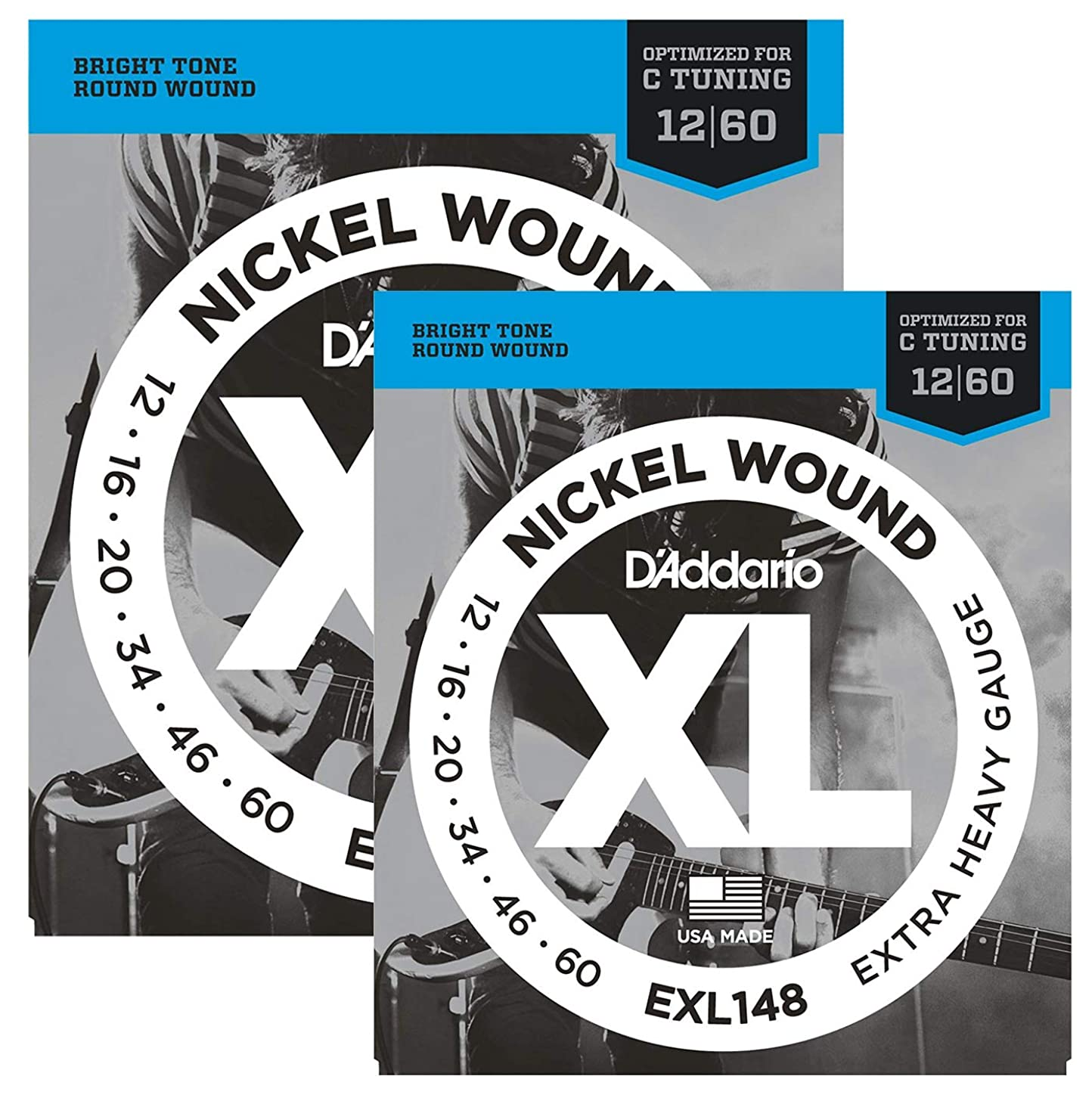 D'Addario EXL148x5 (5 sets), XL Nick Rnd Wnd, Ex Hvy, (.012-.060)