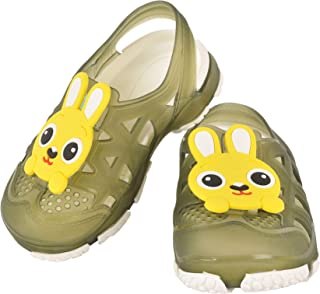 Yellow Bee Green Clogs with Bunny Motif
