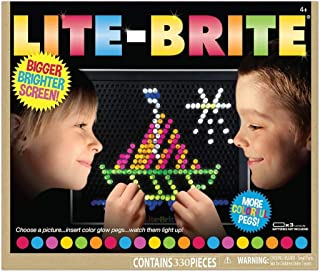 LiteBrite Deluxe Lite Brite Delux Magic Screen Toy Gift for Girls and Boys, 12 templates, Contains 330 Pieces
