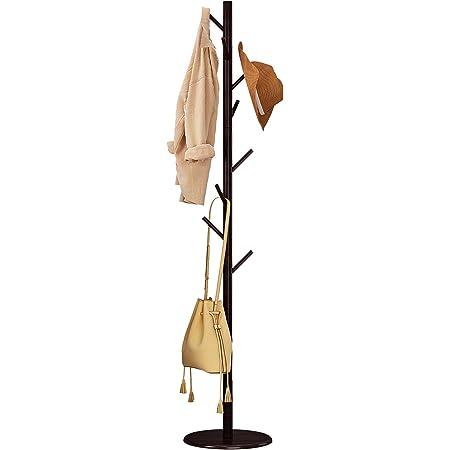 Hompleポールハンガー 北欧 木製 コートハンガー ハンガーラック スリム コート掛け バッグ掛け かばんかけ 枝型設計 組立て簡単 玄関収納  コーヒー色