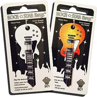 Set of 2 Sunburst and White Wide Body LP Shaped Guitar Keys (SC1)