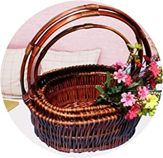 Creative dustproof Burly Natural Wicker Rattan Basket Wine Picnic Basket Storage Bins Made by Hand Sympathy Baskets,L 35L 25W 14H